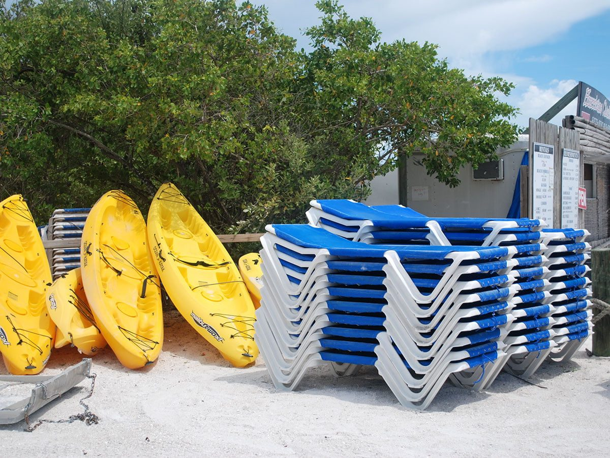 Kayak and Lounge Chair Rentals at Lovers Key