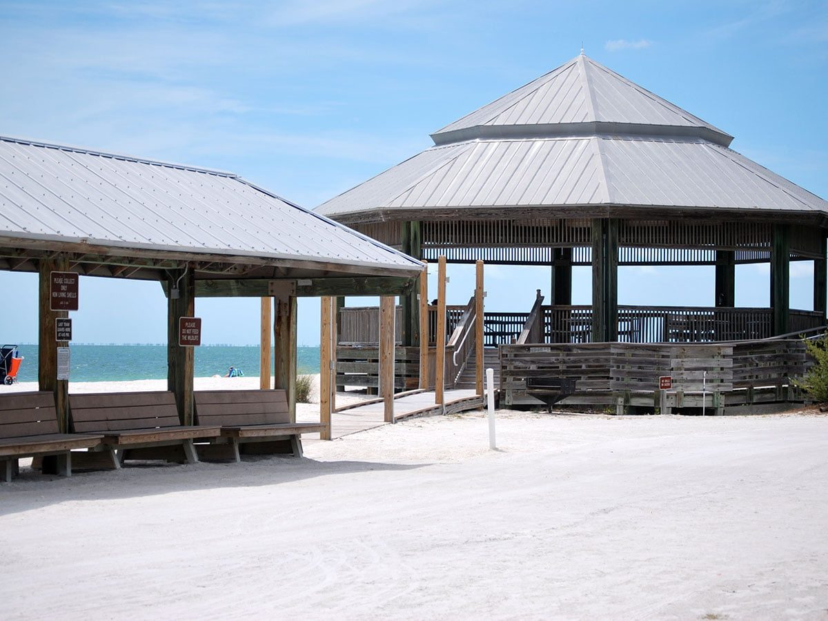 Pavilion and Trolley Stop at Lovers Key